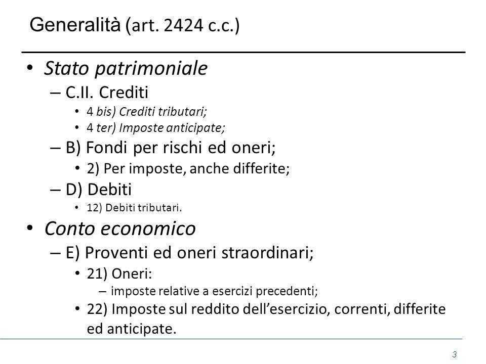 Stato patrimoniale Conto economico Generalità (art. 2424 c.c.)
