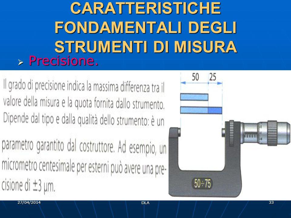 CARATTERISTICHE FONDAMENTALI DEGLI STRUMENTI DI MISURA