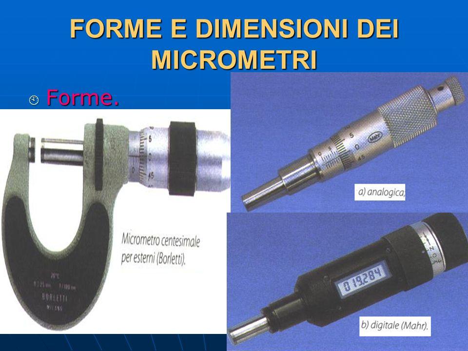 FORME E DIMENSIONI DEI MICROMETRI