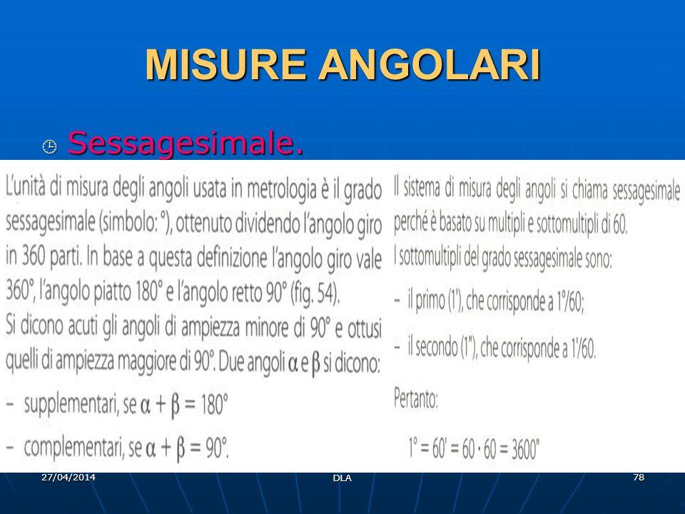 MISURE ANGOLARI Sessagesimale. 29/03/2017 DLA