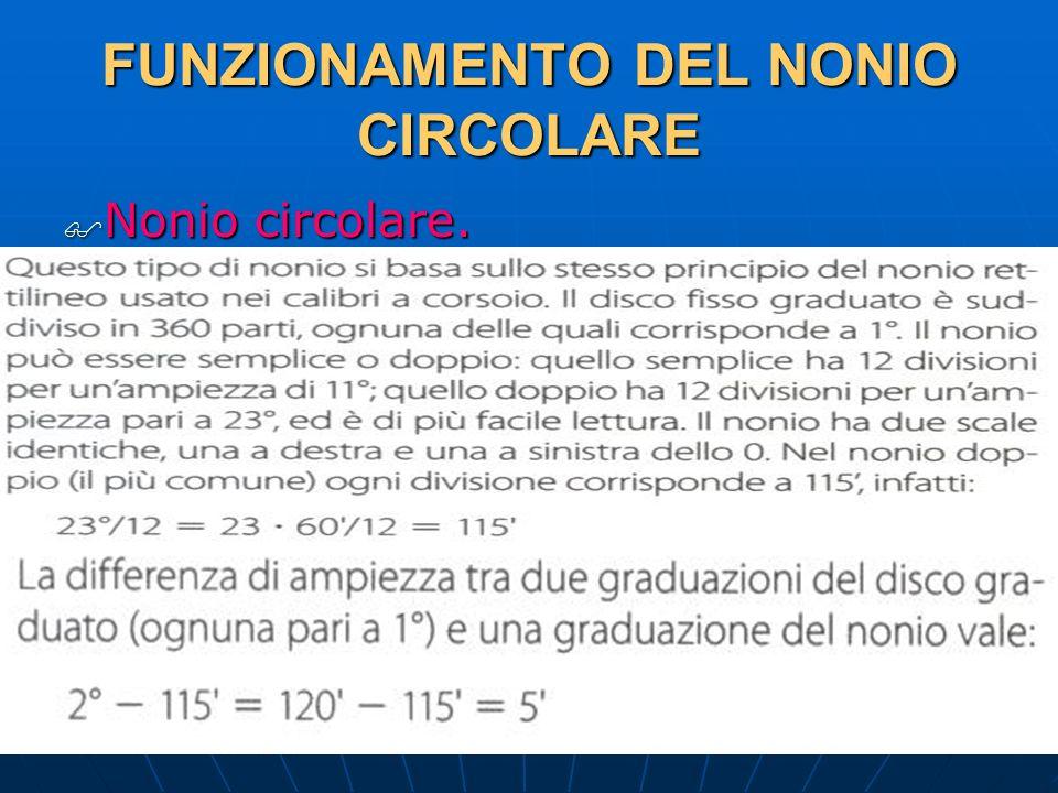 FUNZIONAMENTO DEL NONIO CIRCOLARE