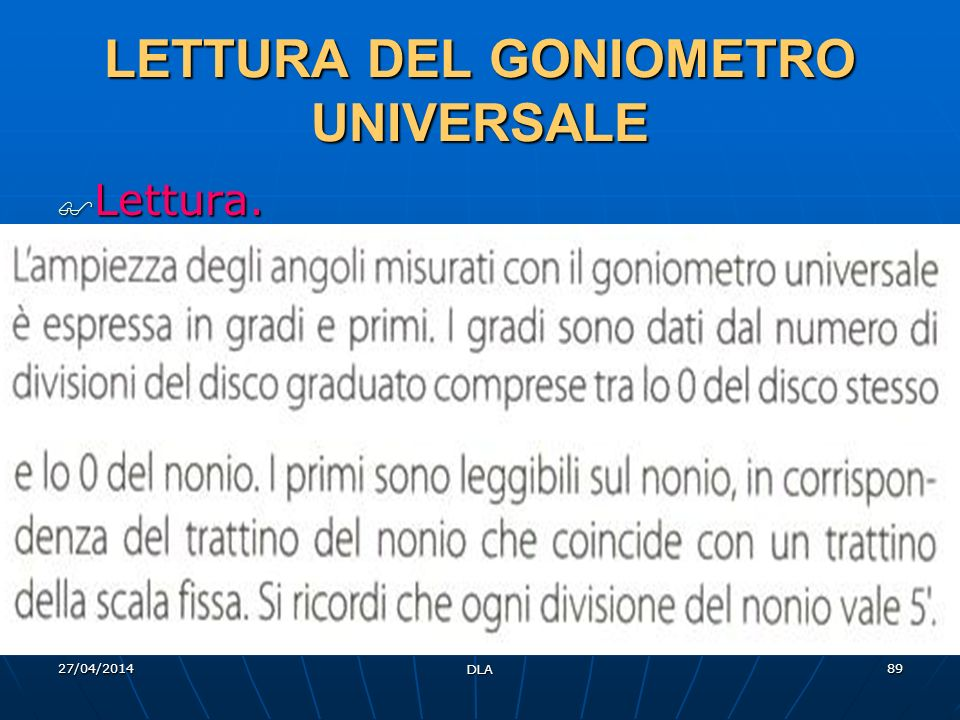 LETTURA DEL GONIOMETRO UNIVERSALE