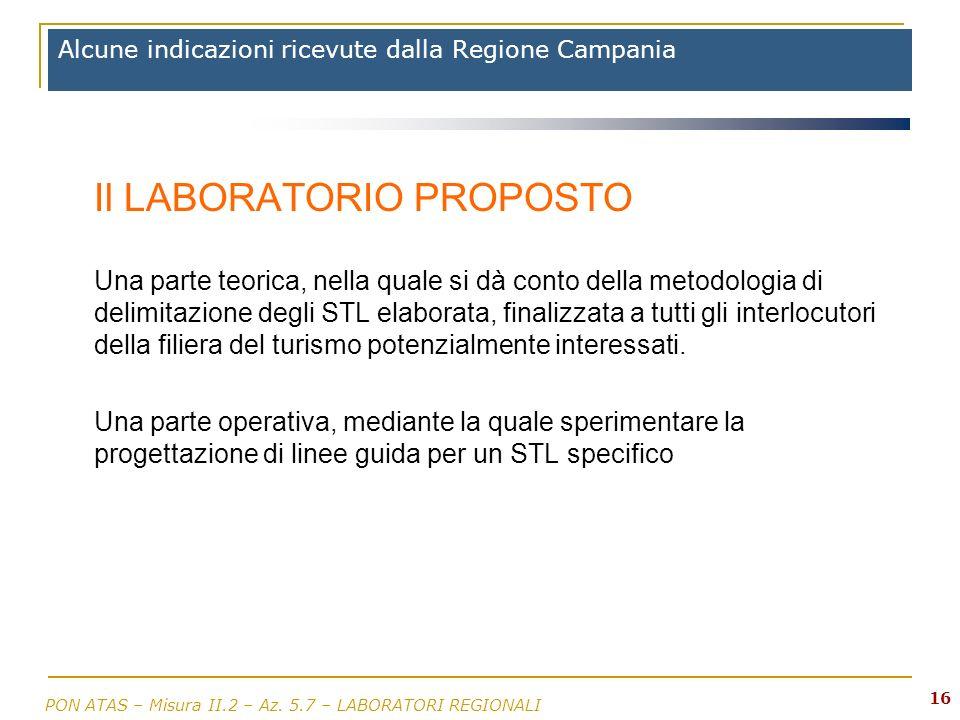 Alcune indicazioni ricevute dalla Regione Campania