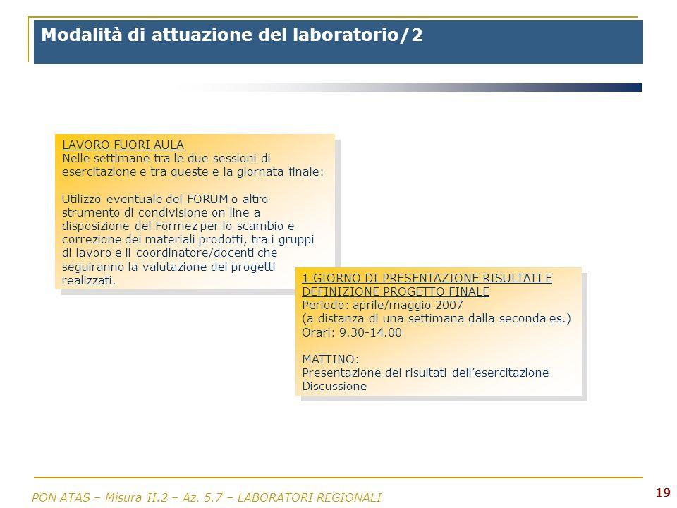 Modalità di attuazione del laboratorio/2
