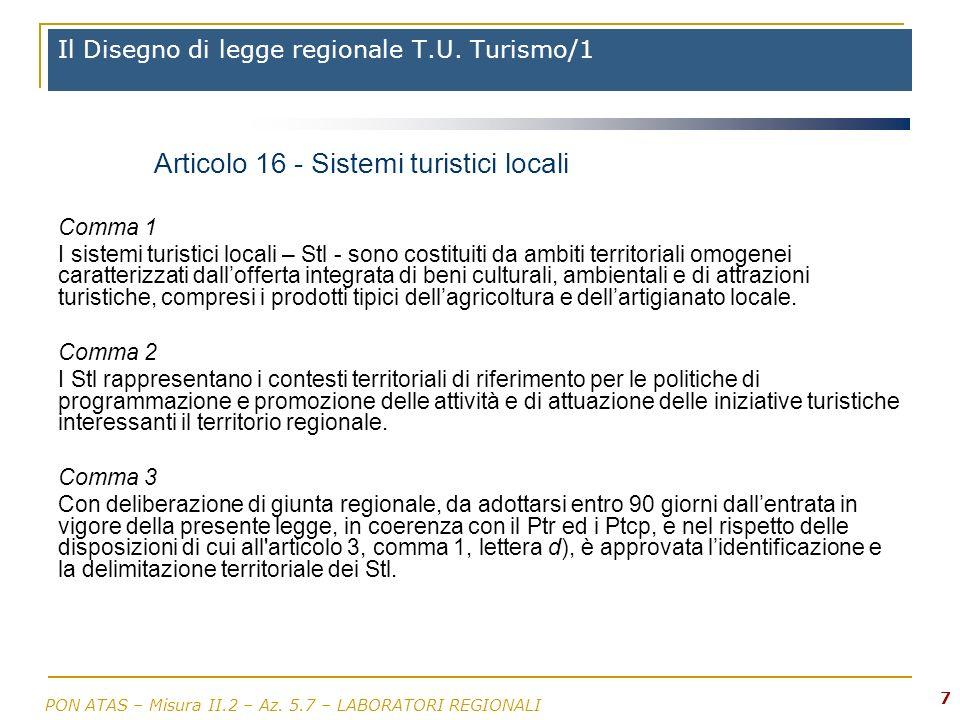 Il Disegno di legge regionale T.U. Turismo/1