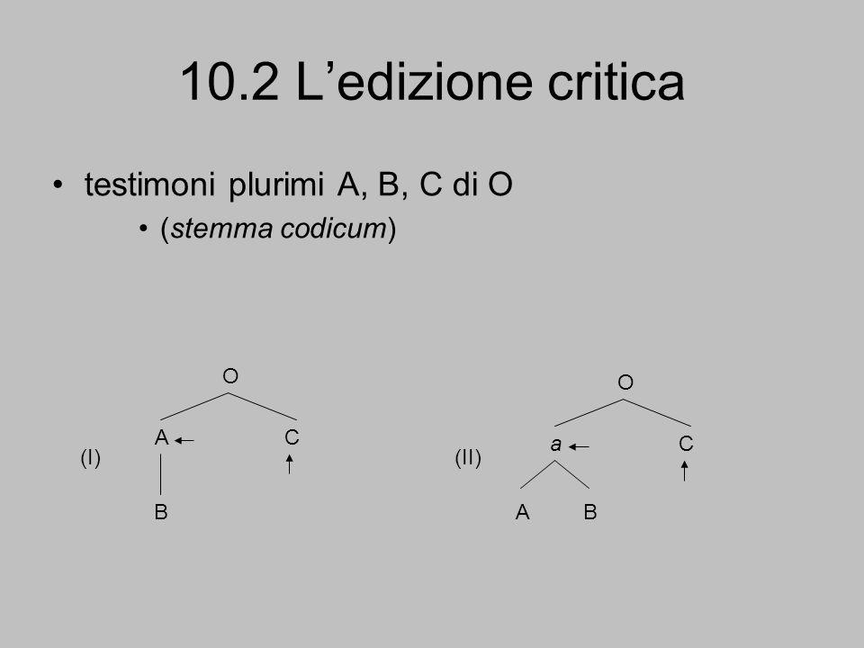 10.2 L'edizione critica testimoni plurimi A, B, C di O