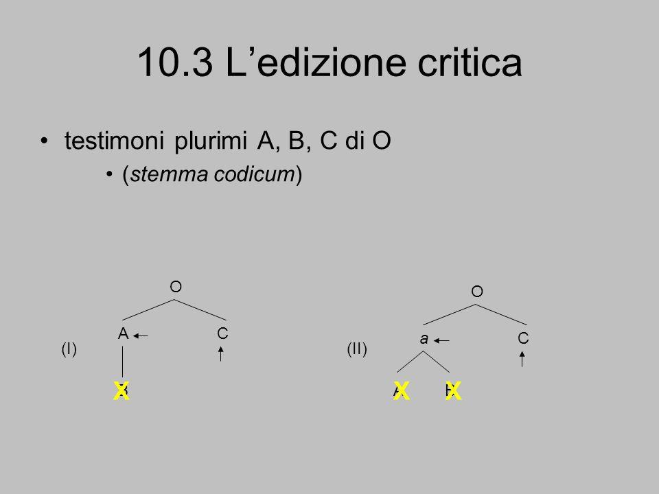 10.3 L'edizione critica testimoni plurimi A, B, C di O X X X