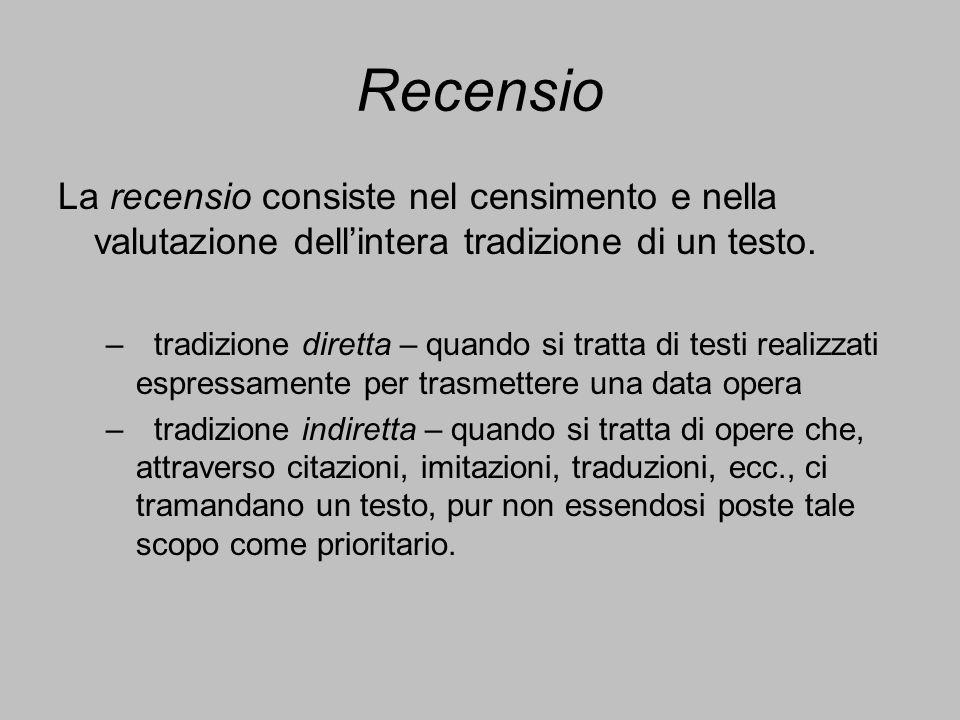 Recensio La recensio consiste nel censimento e nella valutazione dell'intera tradizione di un testo.