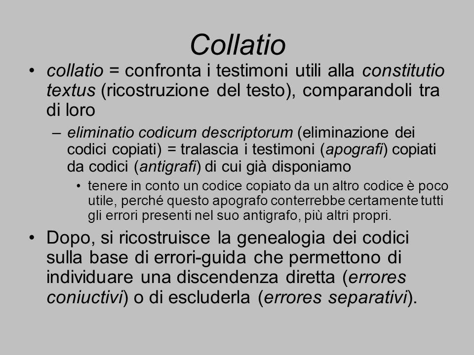 Collatio collatio = confronta i testimoni utili alla constitutio textus (ricostruzione del testo), comparandoli tra di loro.