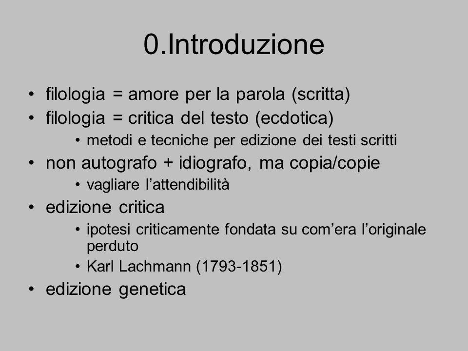 0.Introduzione filologia = amore per la parola (scritta)