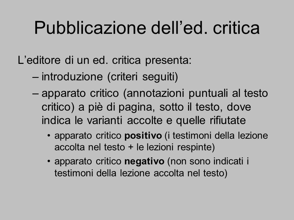 Pubblicazione dell'ed. critica
