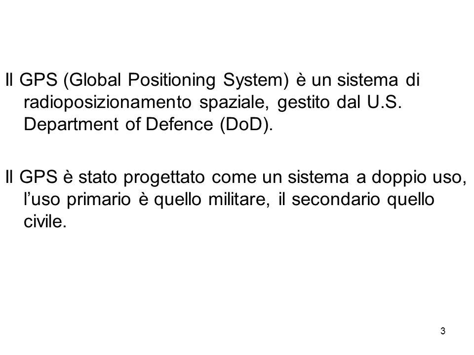 Il GPS (Global Positioning System) è un sistema di radioposizionamento spaziale, gestito dal U.S. Department of Defence (DoD).