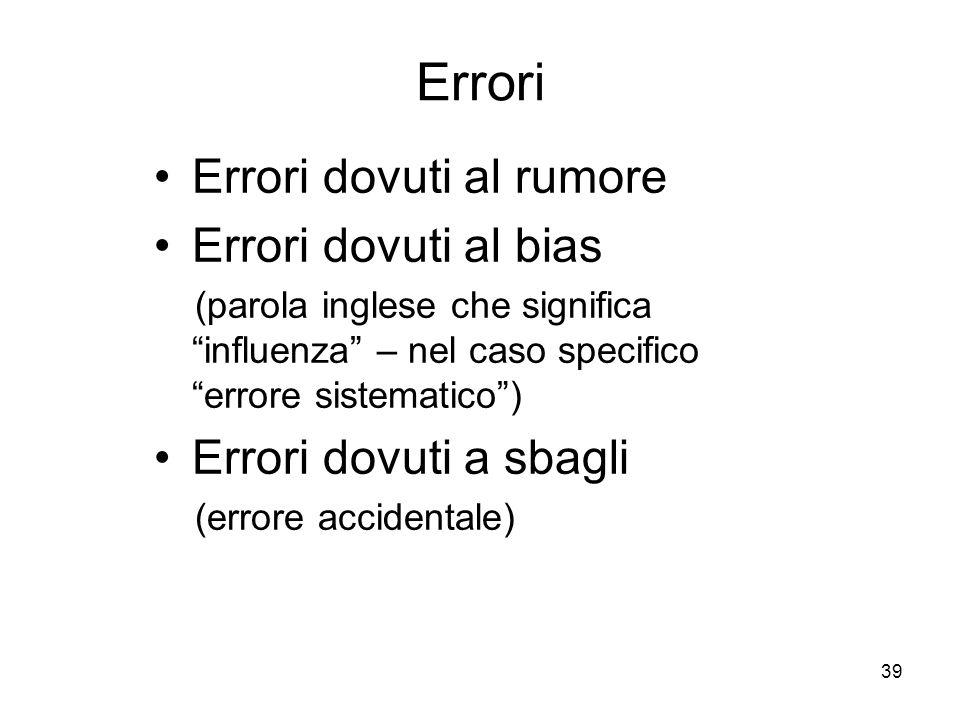Errori Errori dovuti al rumore Errori dovuti al bias