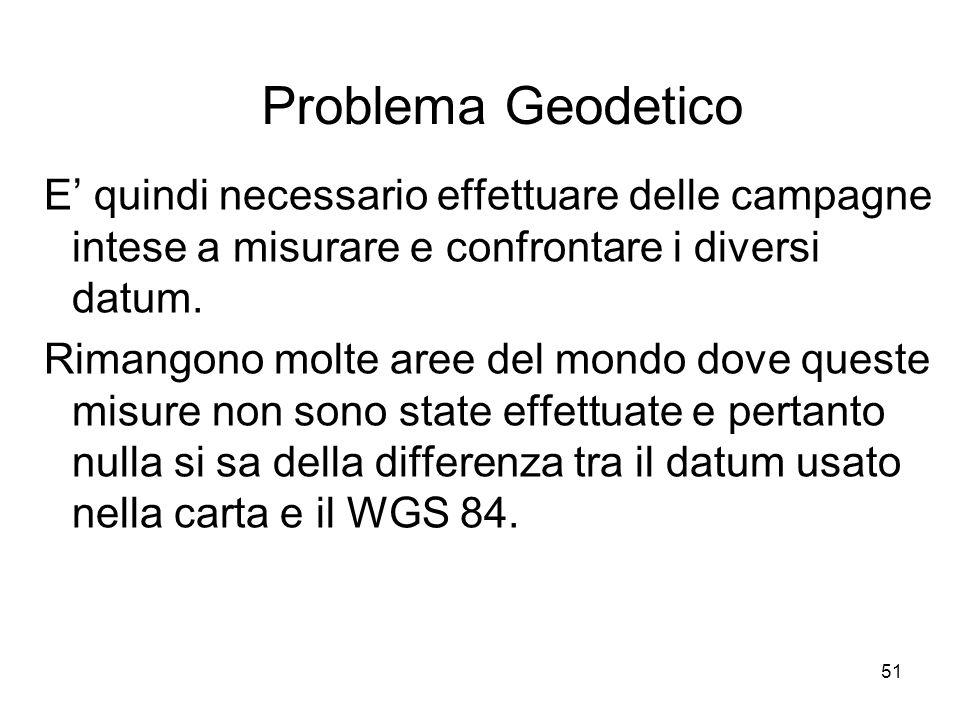 Problema Geodetico E' quindi necessario effettuare delle campagne intese a misurare e confrontare i diversi datum.