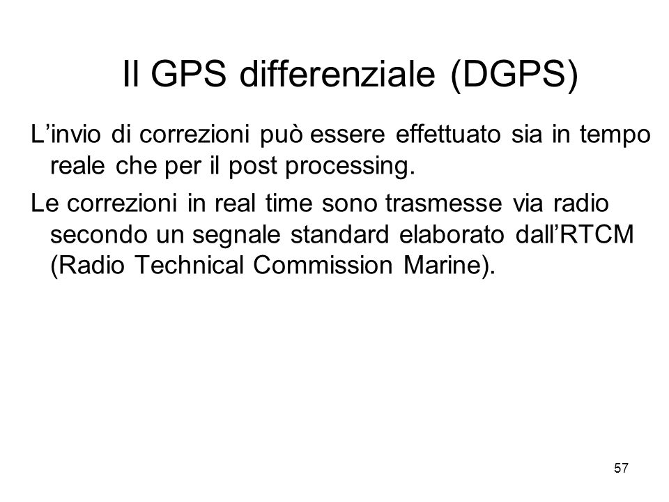 Il GPS differenziale (DGPS)