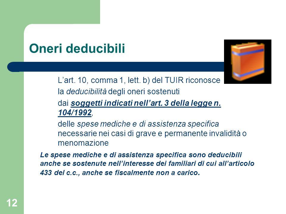 Oneri deducibili L'art. 10, comma 1, lett. b) del TUIR riconosce