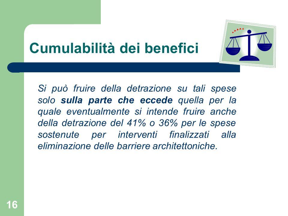 Cumulabilità dei benefici