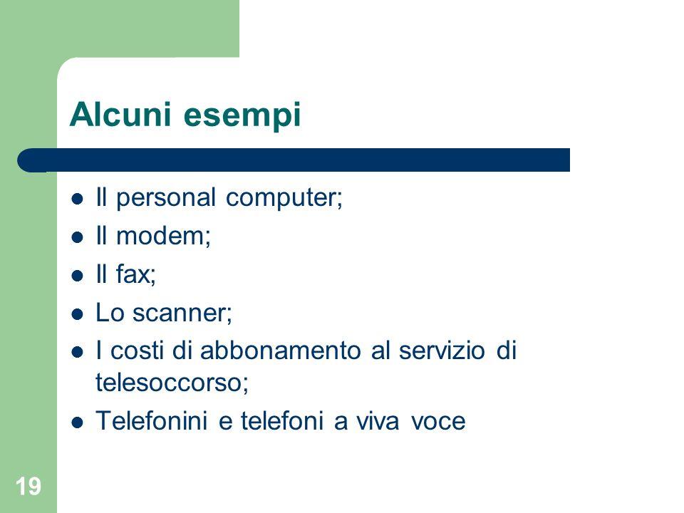 Alcuni esempi Il personal computer; Il modem; Il fax; Lo scanner;