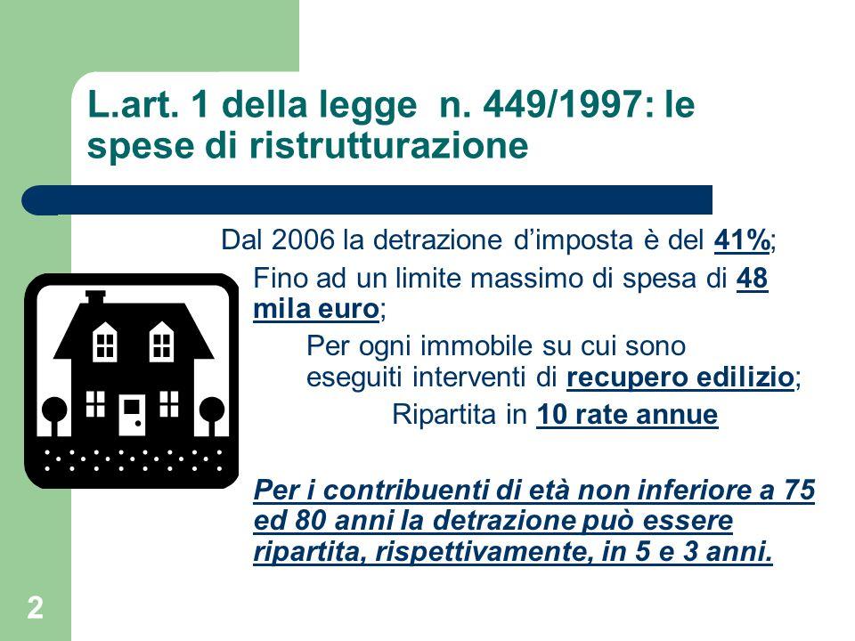 L.art. 1 della legge n. 449/1997: le spese di ristrutturazione