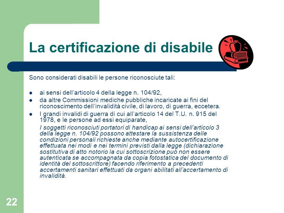 La certificazione di disabile