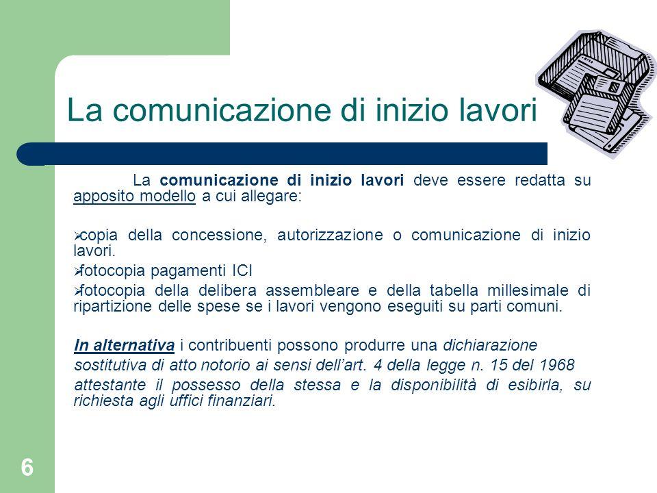 La comunicazione di inizio lavori