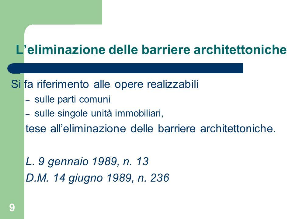 L'eliminazione delle barriere architettoniche