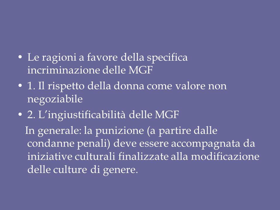 Le ragioni a favore della specifica incriminazione delle MGF