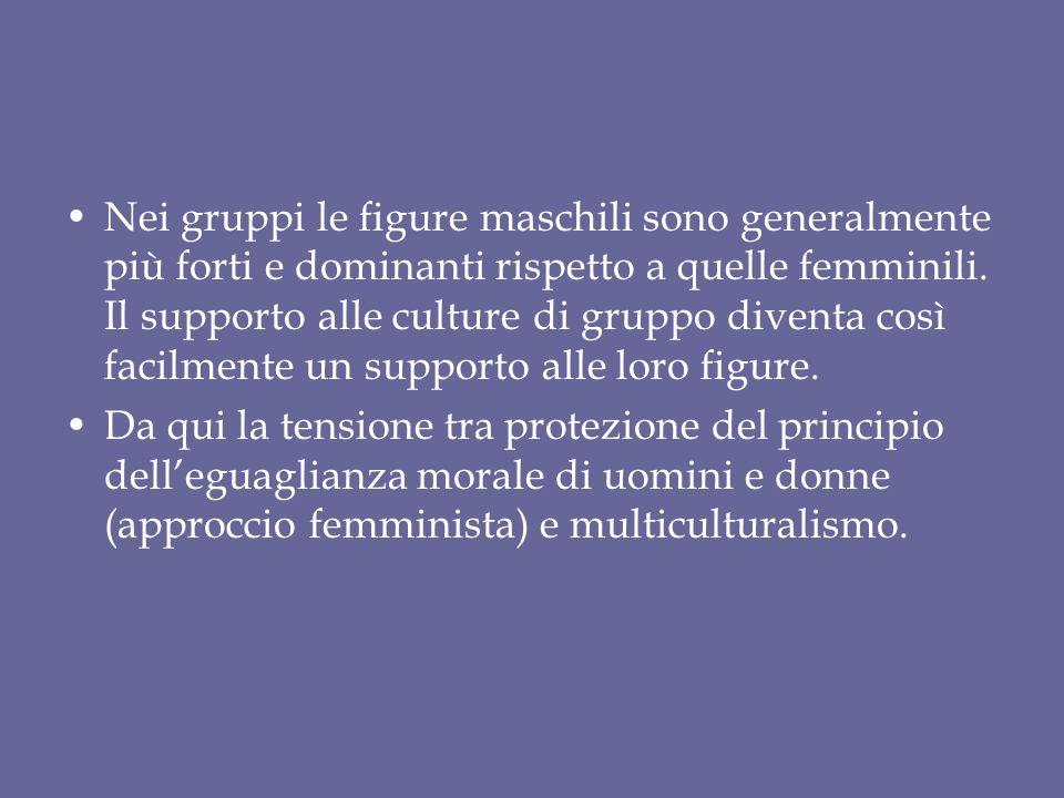Nei gruppi le figure maschili sono generalmente più forti e dominanti rispetto a quelle femminili. Il supporto alle culture di gruppo diventa così facilmente un supporto alle loro figure.