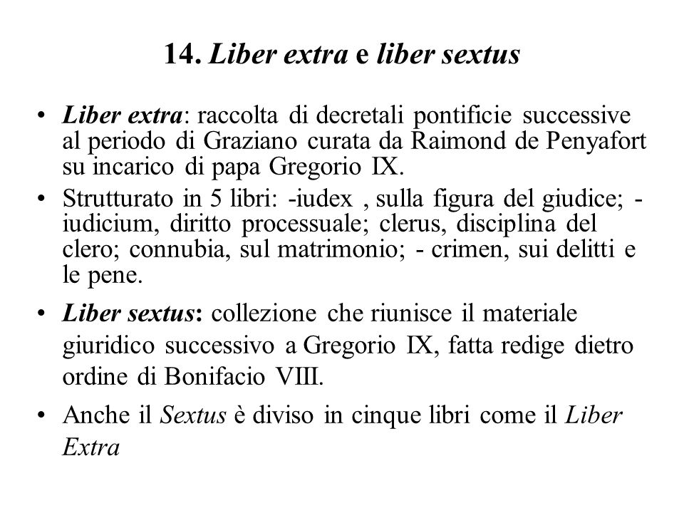 14. Liber extra e liber sextus