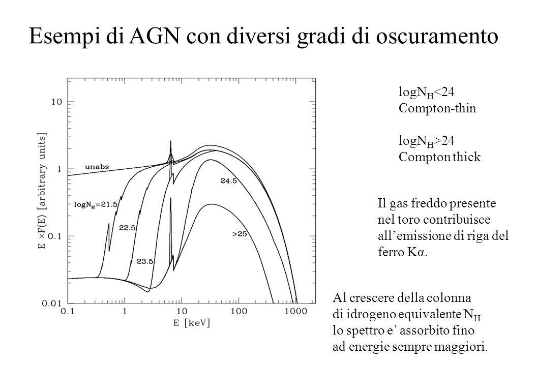Esempi di AGN con diversi gradi di oscuramento