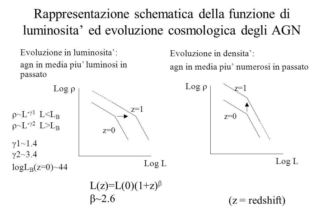 Rappresentazione schematica della funzione di luminosita' ed evoluzione cosmologica degli AGN