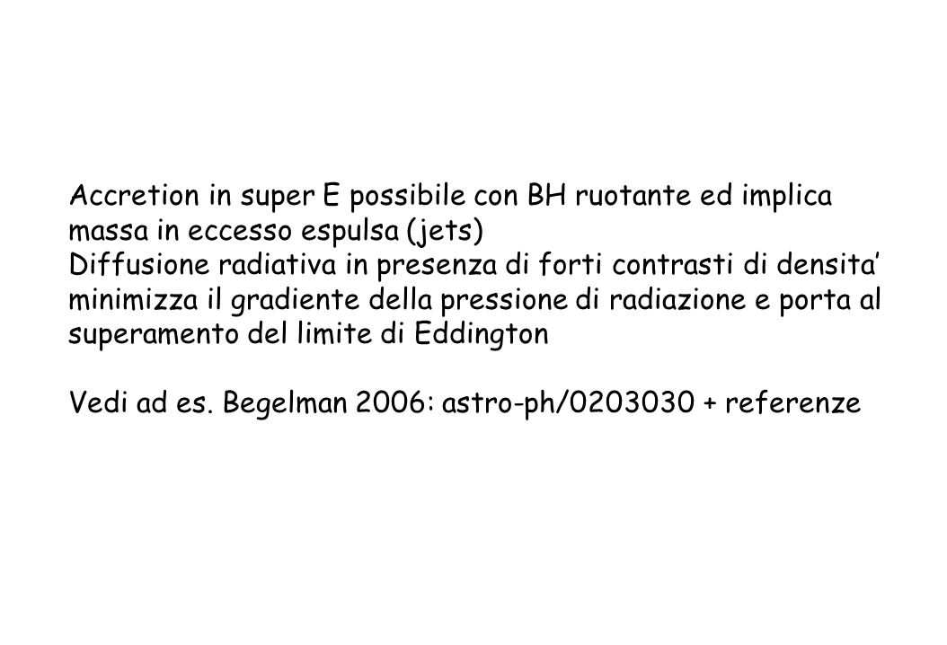 Accretion in super E possibile con BH ruotante ed implica