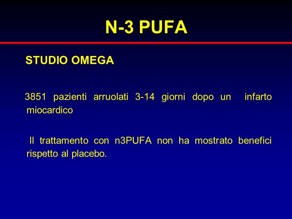 N-3 PUFA STUDIO OMEGA. 3851 pazienti arruolati 3-14 giorni dopo un infarto miocardico.