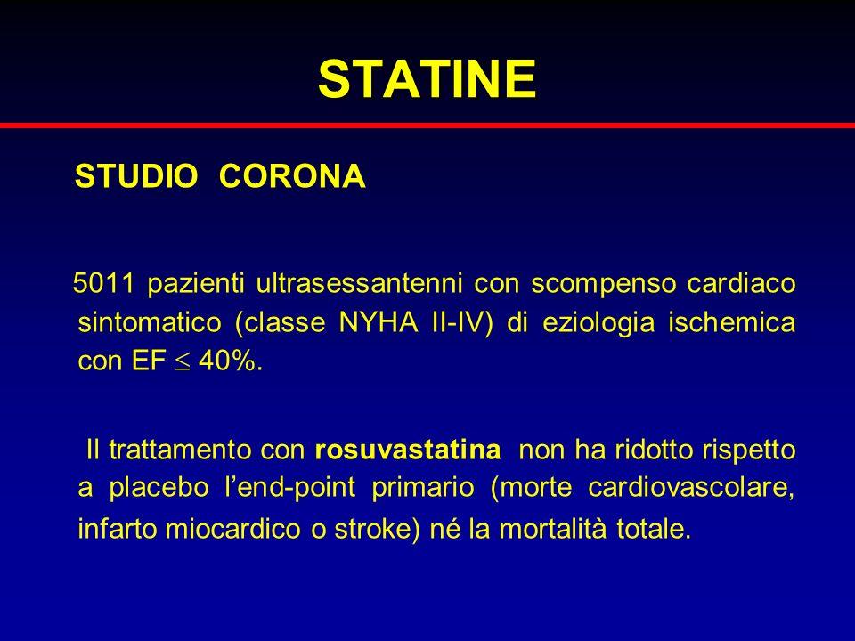 STATINE STUDIO CORONA. 5011 pazienti ultrasessantenni con scompenso cardiaco sintomatico (classe NYHA II-IV) di eziologia ischemica con EF  40%.