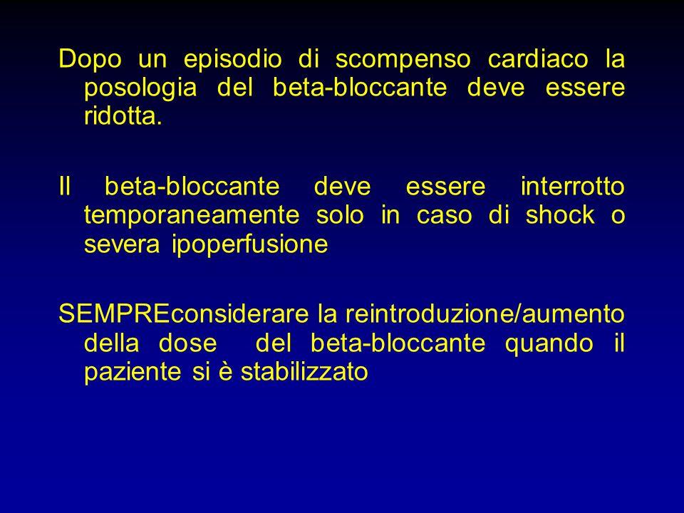 Dopo un episodio di scompenso cardiaco la posologia del beta-bloccante deve essere ridotta.