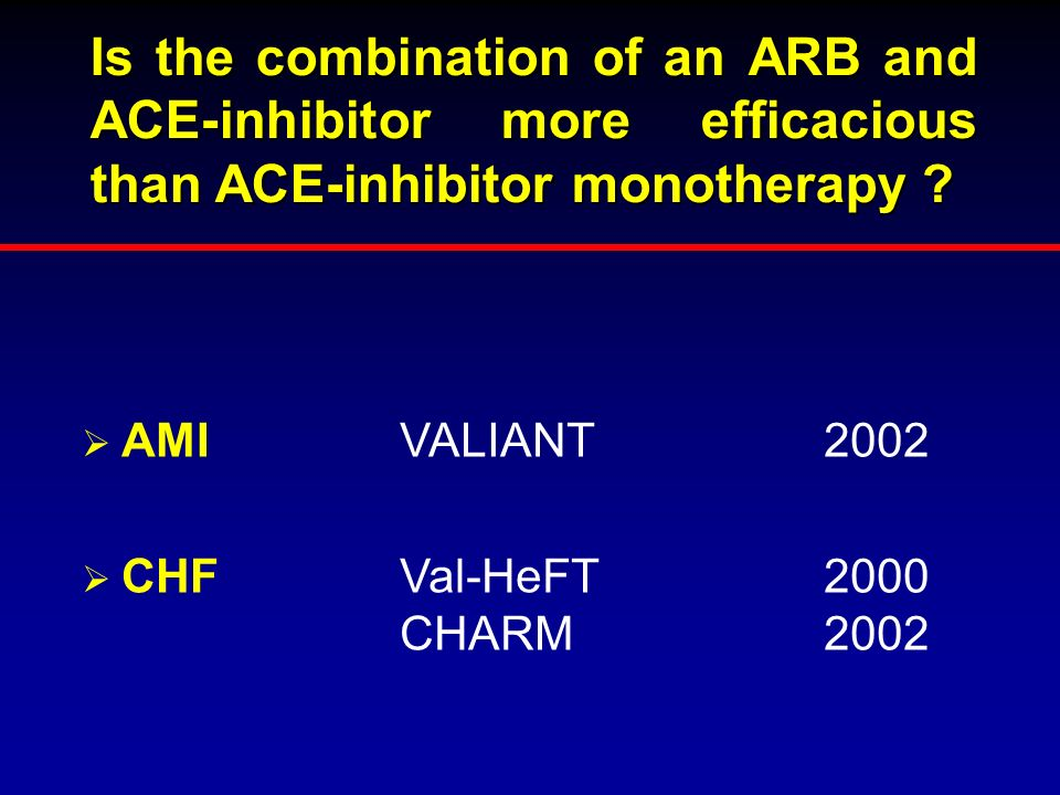 Is the combination of an ARB and ACE-inhibitor more efficacious than ACE-inhibitor monotherapy
