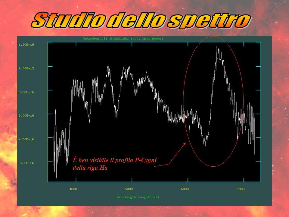 Studio dello spettro È ben visibile il profilo P-Cygni della riga Ha