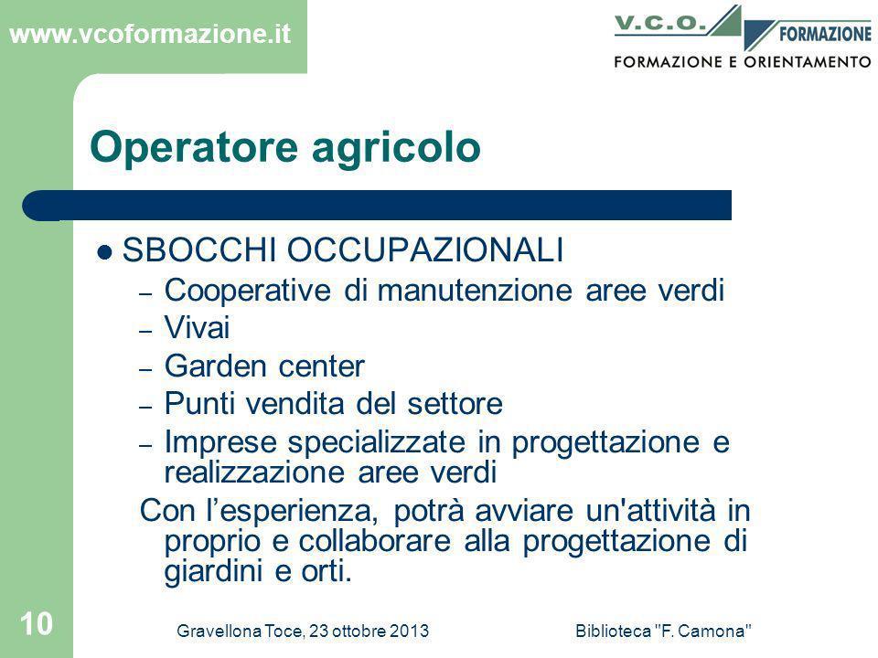 Operatore agricolo SBOCCHI OCCUPAZIONALI