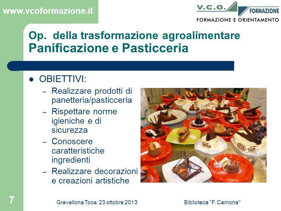 Op. della trasformazione agroalimentare Panificazione e Pasticceria
