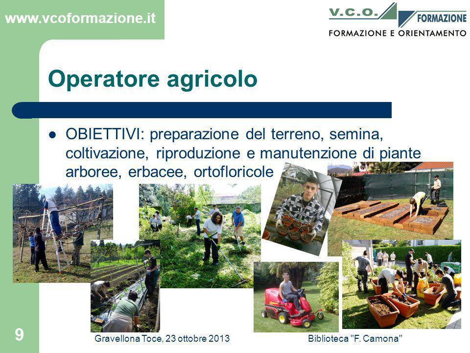 Operatore agricolo OBIETTIVI: preparazione del terreno, semina, coltivazione, riproduzione e manutenzione di piante arboree, erbacee, ortofloricole.