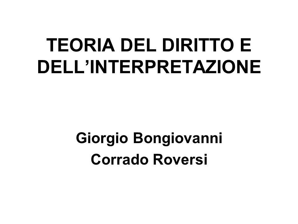 TEORIA DEL DIRITTO E DELL'INTERPRETAZIONE