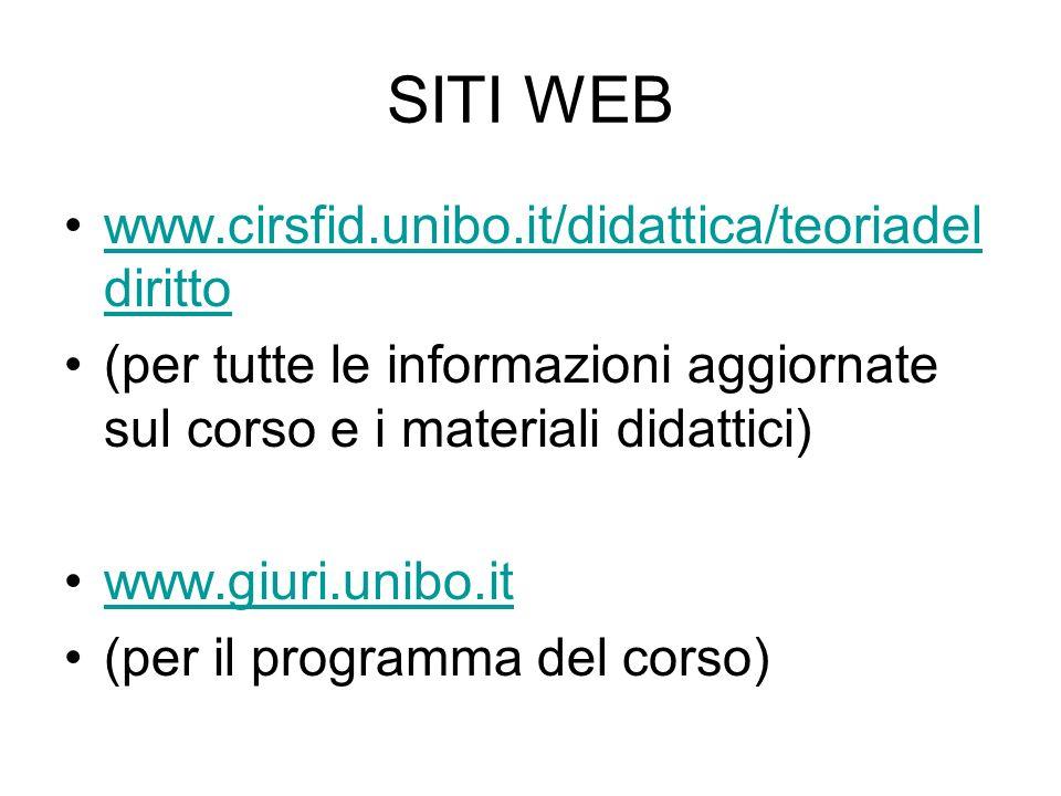 SITI WEB www.cirsfid.unibo.it/didattica/teoriadeldiritto. (per tutte le informazioni aggiornate sul corso e i materiali didattici)