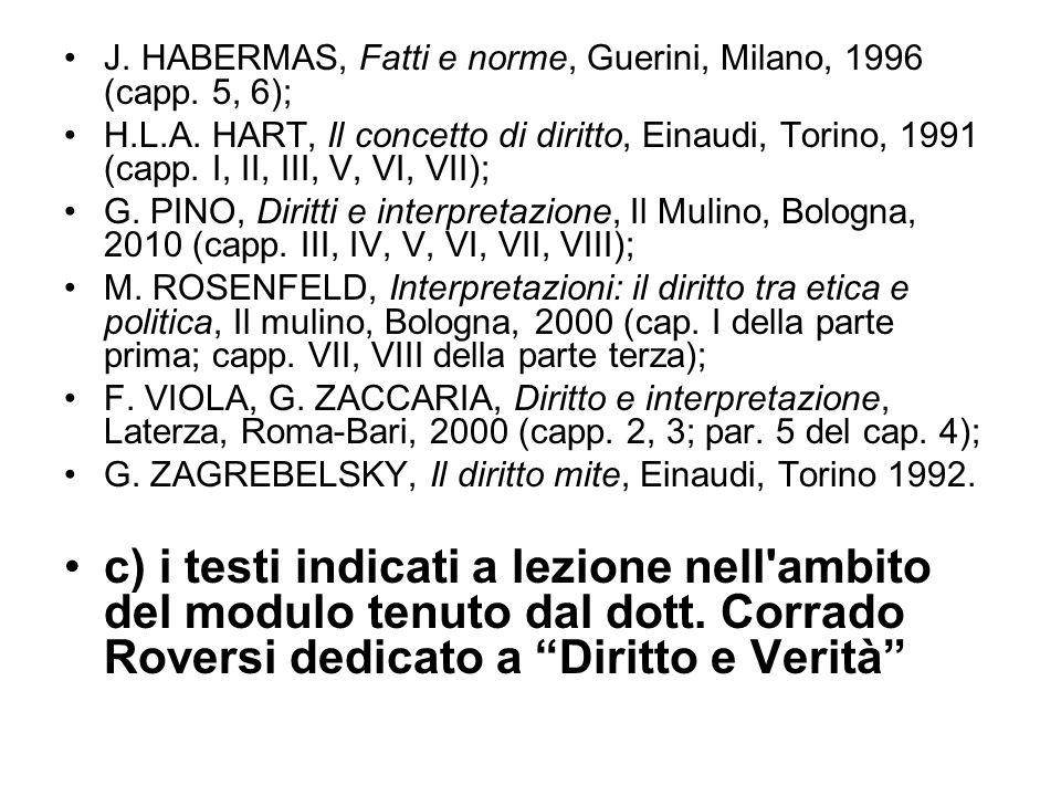 J. HABERMAS, Fatti e norme, Guerini, Milano, 1996 (capp. 5, 6);