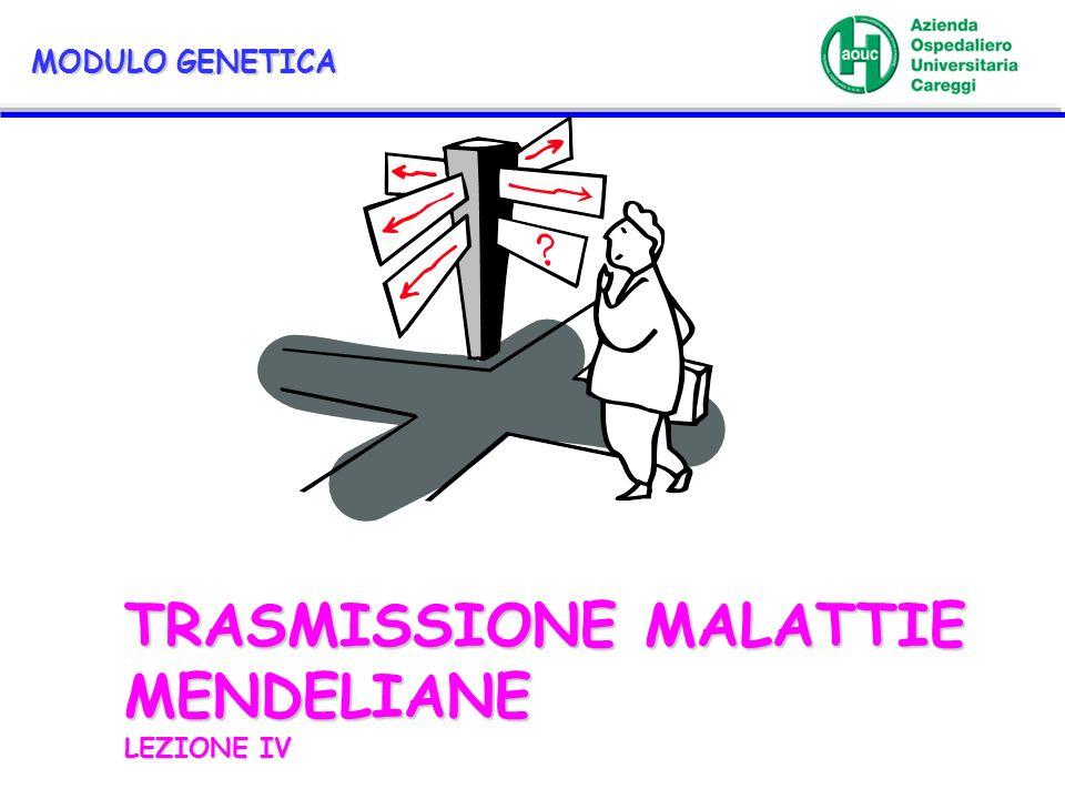 TRASMISSIONE MALATTIE MENDELIANE LEZIONE IV