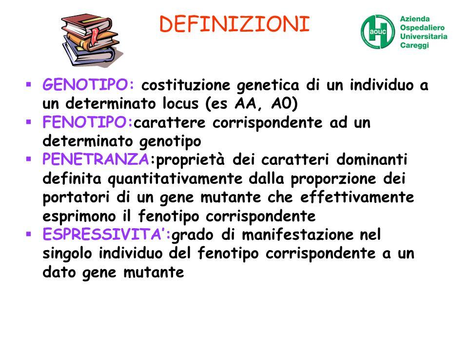 DEFINIZIONI GENOTIPO: costituzione genetica di un individuo a un determinato locus (es AA, A0)