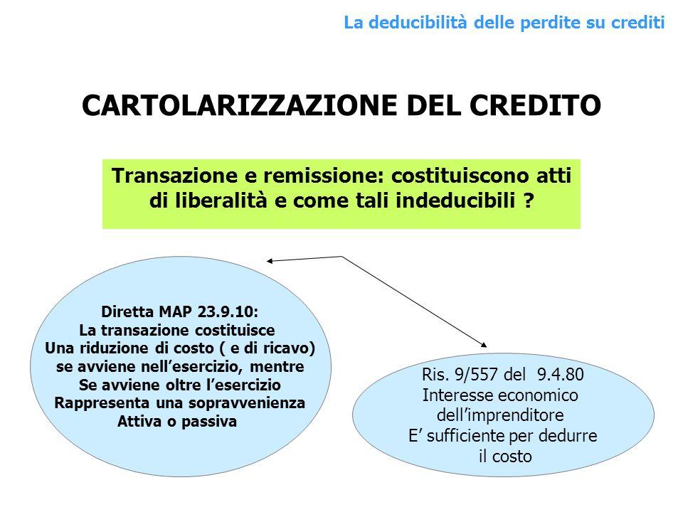 CARTOLARIZZAZIONE DEL CREDITO
