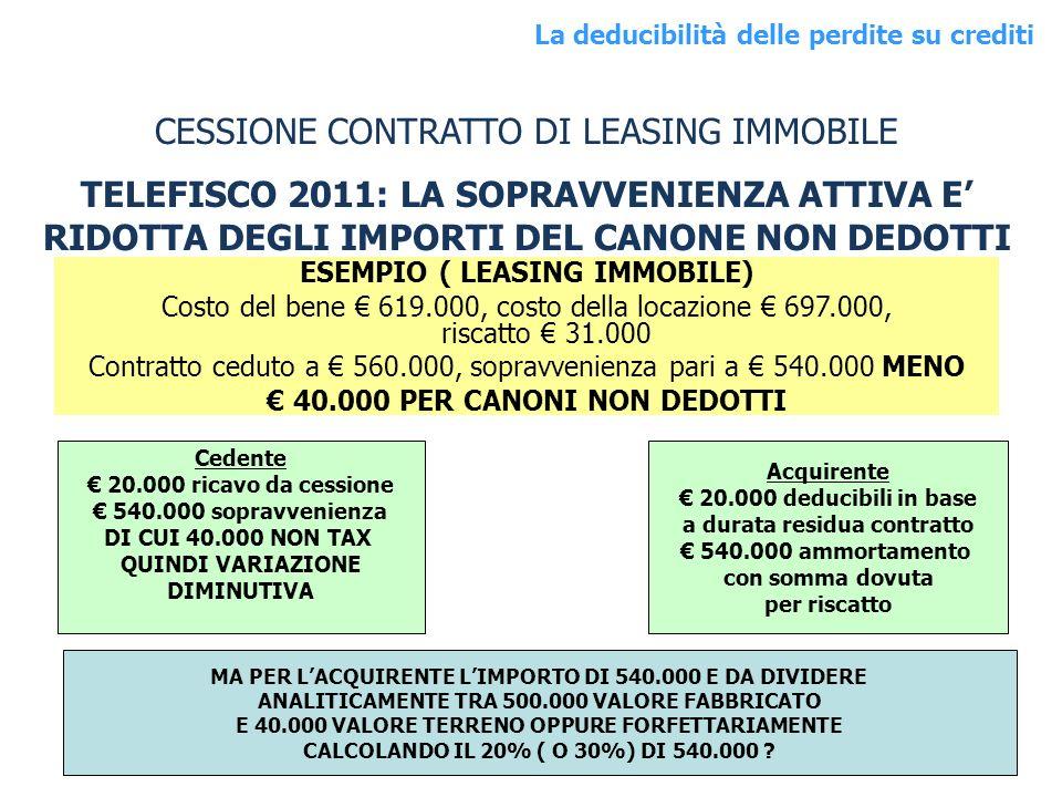 CESSIONE CONTRATTO DI LEASING IMMOBILE
