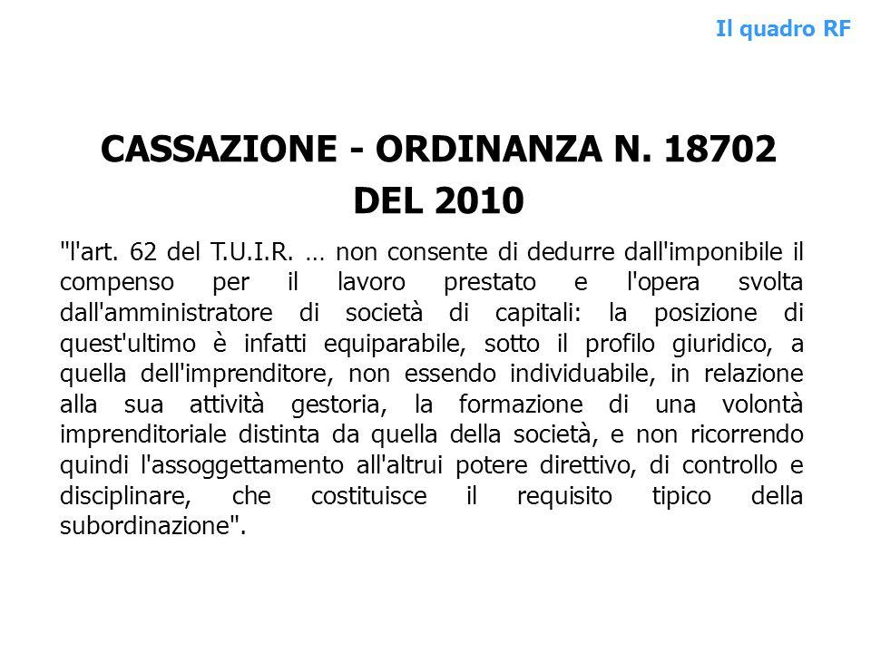 CASSAZIONE - ORDINANZA N. 18702