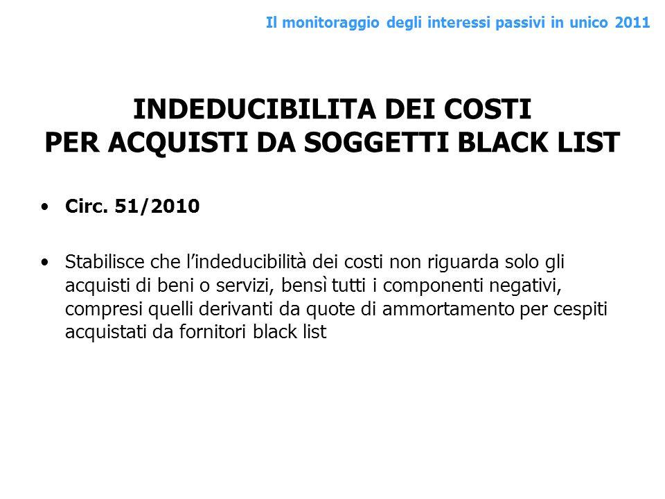 INDEDUCIBILITA DEI COSTI PER ACQUISTI DA SOGGETTI BLACK LIST