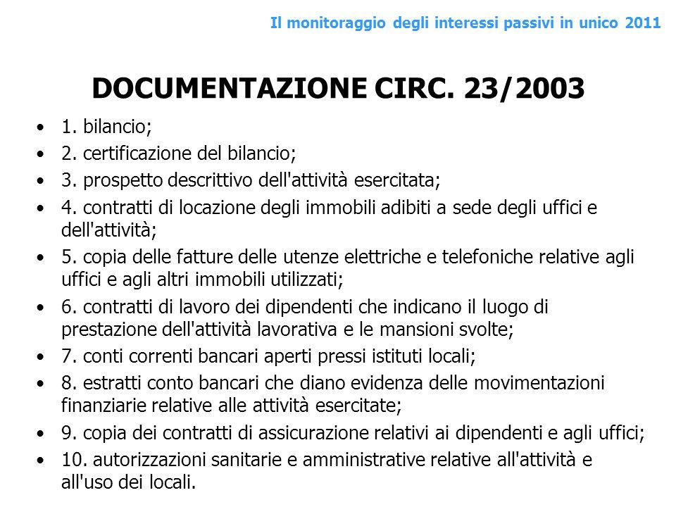 DOCUMENTAZIONE CIRC. 23/2003 1. bilancio;